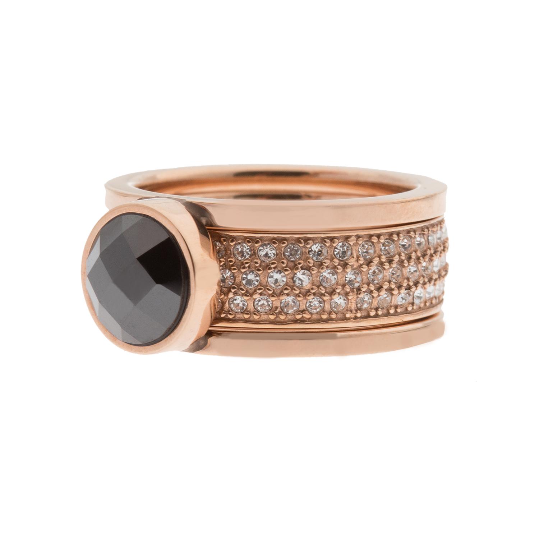 FOLLI FOLLIE - Σετ από δύο επίχρυσα ατσάλινα δαχτυλίδια ροζ χρυσό