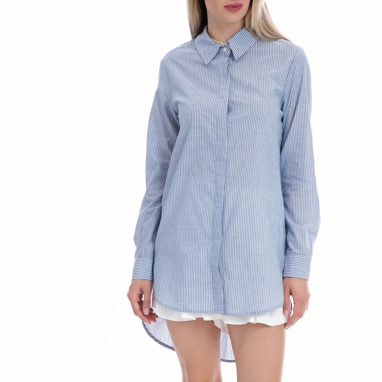 VINTAGE SUGAR - Γυναικείο πουκάμισο Vintage Sugar μπλε γυναικεία ρούχα πουκάμισα μακρυμάνικα