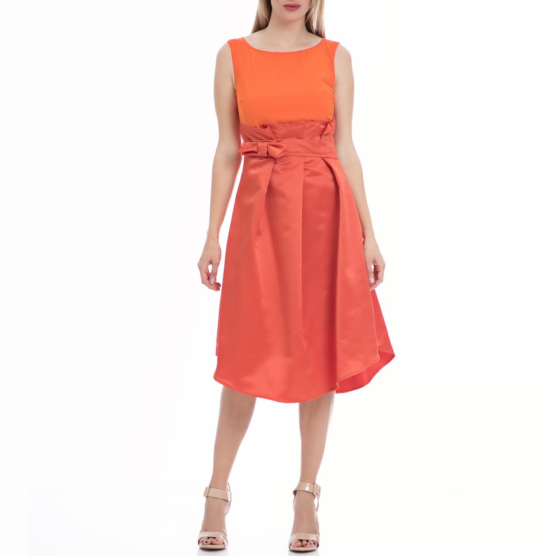 MY TIFFANY - Γυναικείο φόρεμα MY TIFFANY πορτοκαλί γυναικεία ρούχα φορέματα μέχρι το γόνατο