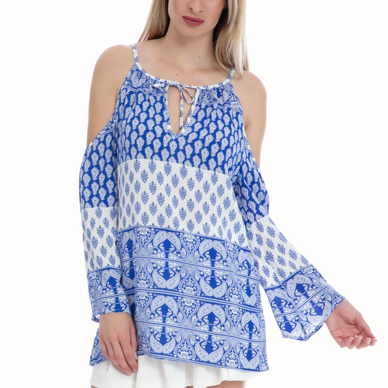 de69e4a46539 VINTAGE SUGAR – Γυναικεία πουκαμίσα Vintage Sugar λευκή-μπλε. Factory Outlet