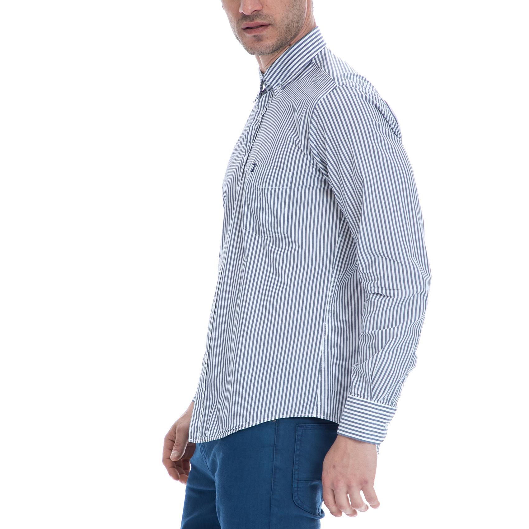 1a6e81f1d52e HAMPTONS - Ανδρικό πουκάμισο HAMPTONS λευκό-μπλε