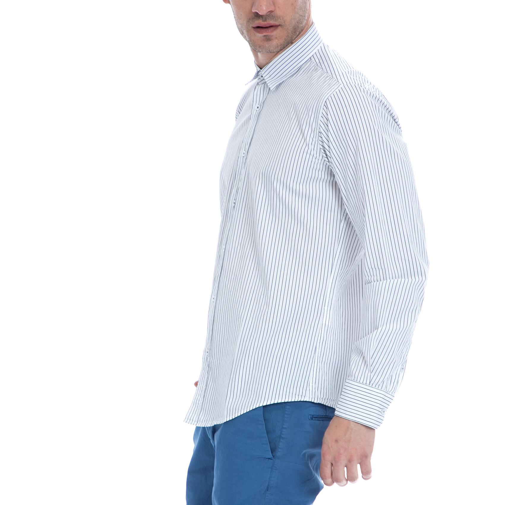 HAMPTONS - Ανδρικό πουκάμισο HAMPTONS λευκό-γκρι a8d89712b2e
