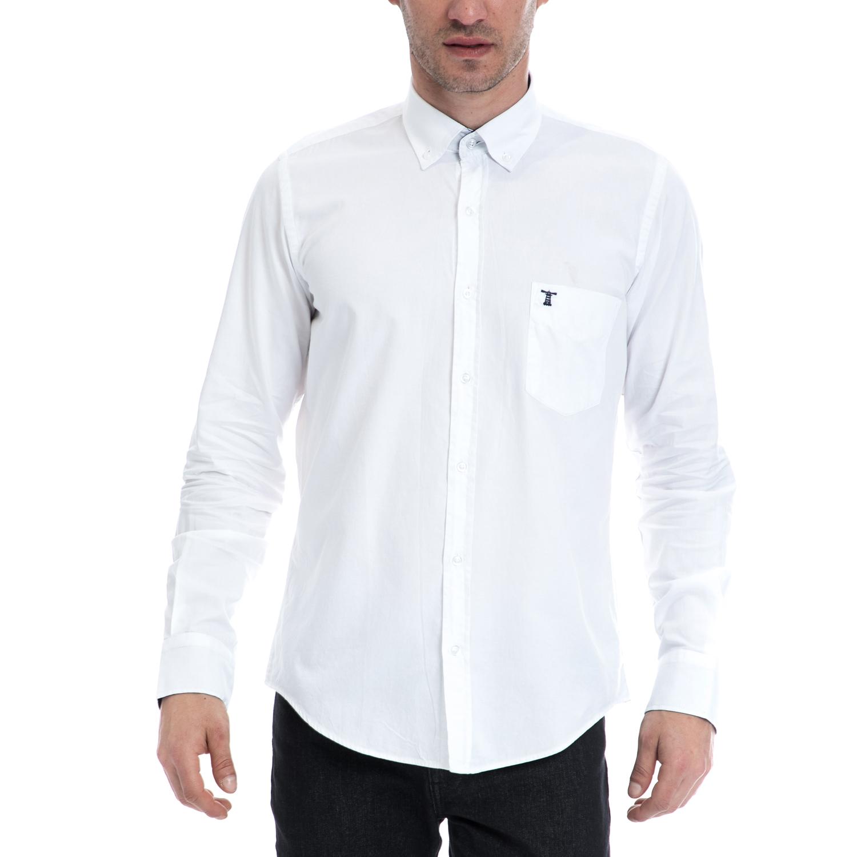 HAMPTONS - Ανδρικό πουκάμισο HAMPTONS λευκό ανδρικά ρούχα πουκάμισα μακρυμάνικα
