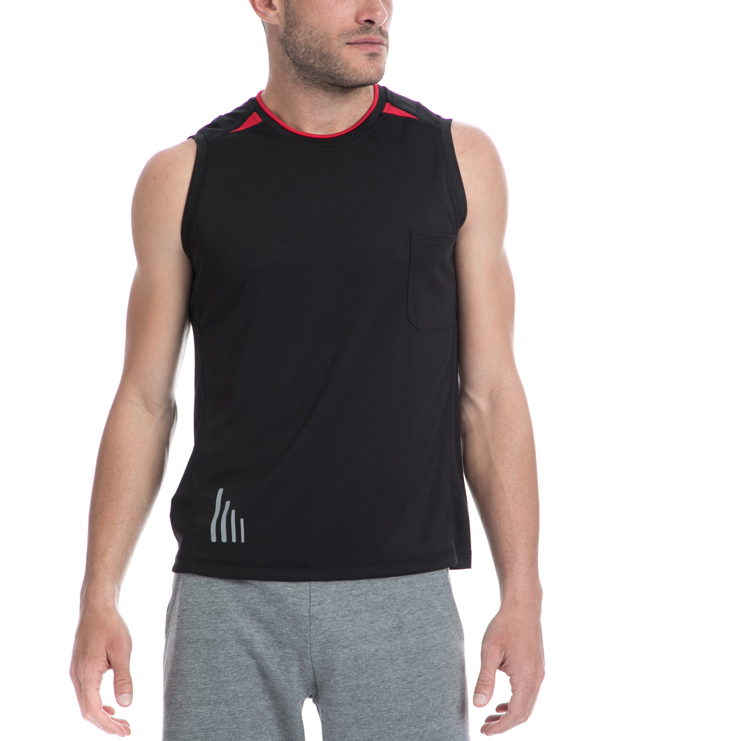 BODYTALK - Ανδρική αμάνικη μπλούζα BODYTALK μαύρη ανδρικά ρούχα αθλητικά t shirt