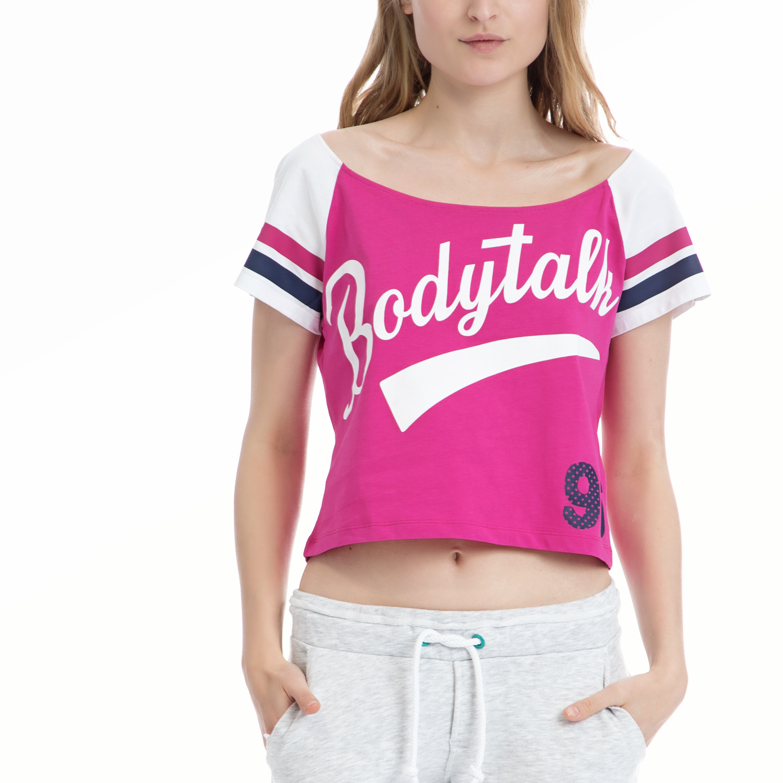 BODYTALK - Γυναικεία μπλούζα BODYTALK λευκή-φούξια γυναικεία ρούχα αθλητικά t shirt τοπ