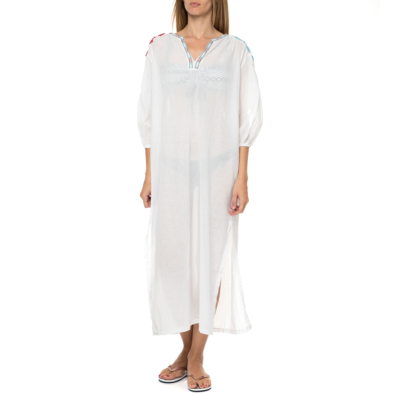 MYMOO - Γυναικείο μάξι beachwear φόρεμα MYMOO λευκό με λουλούδια γυναικεία ρούχα φούστες μάξι