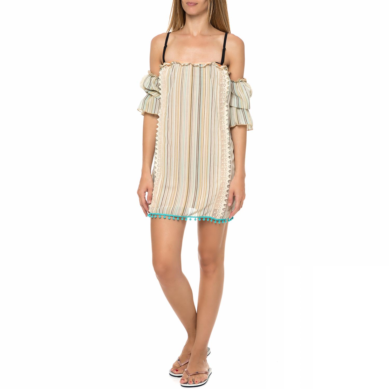 MYMOO - Γυναικείο μίνι beachwear φόρεμα MYMOO μπεζ-καφέ με δαντέλα γυναικεία ρούχα φορέματα μίνι