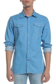 SCOTCH   SODA. Ανδρικό τζιν πουκάμισο Scotch   Soda μπλε 67df830c571