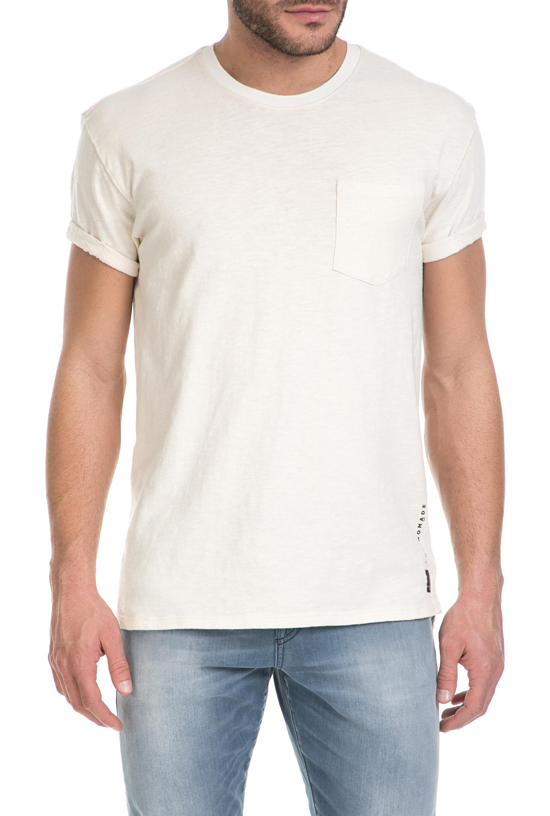 SCOTCH & SODA - Ανδρικό t-shirt CLUB NOMADE SCOTCH & SODA εκρού ανδρικά ρούχα μπλούζες κοντομάνικες