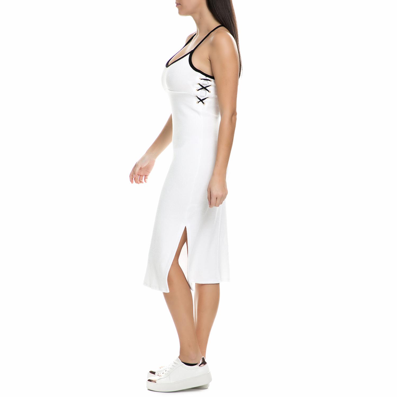 JUICY COUTURE - Γυναικείο midi φόρεμα πετσετέ Juicy Couture λευκό - μαύρο γυναικεία ρούχα φορέματα μέχρι το γόνατο