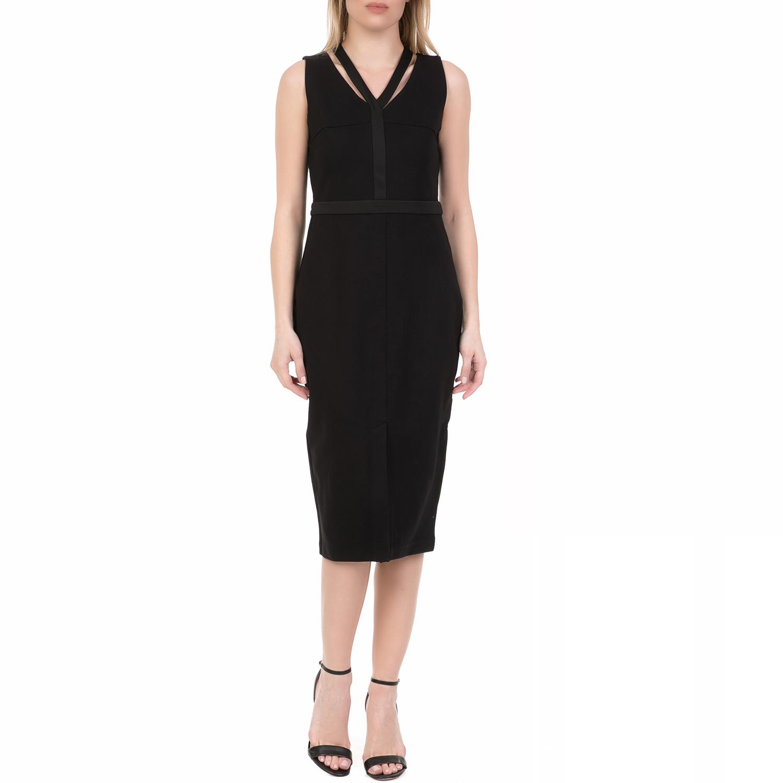 JUICY COUTURE - Γυναικείο midi φόρεμα PONTE CUTOUT JUICY COUTURE μαύρο γυναικεία ρούχα φορέματα μέχρι το γόνατο