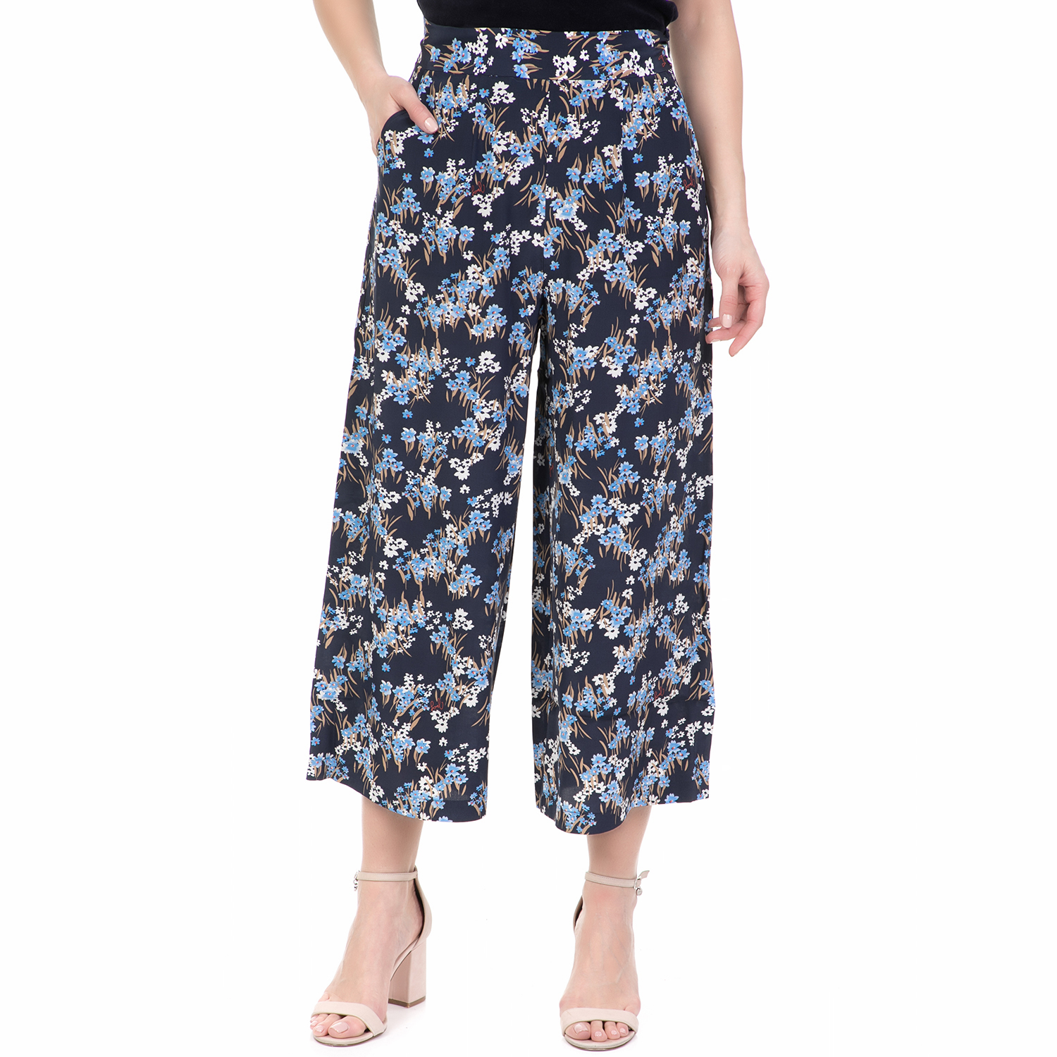 JUICY COUTURE - Γυναικεία ζιπ κιλότ ASTER FLORAL WIDE JUICY COUTURE φλοράλ γυναικεία ρούχα παντελόνια cropped