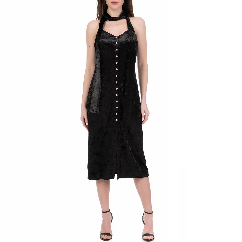 JUICY COUTURE - Γυναικείο midi φόρεμα CRUSHED VELOUR JUICY COUTURE μαύρο γυναικεία ρούχα φορέματα μέχρι το γόνατο