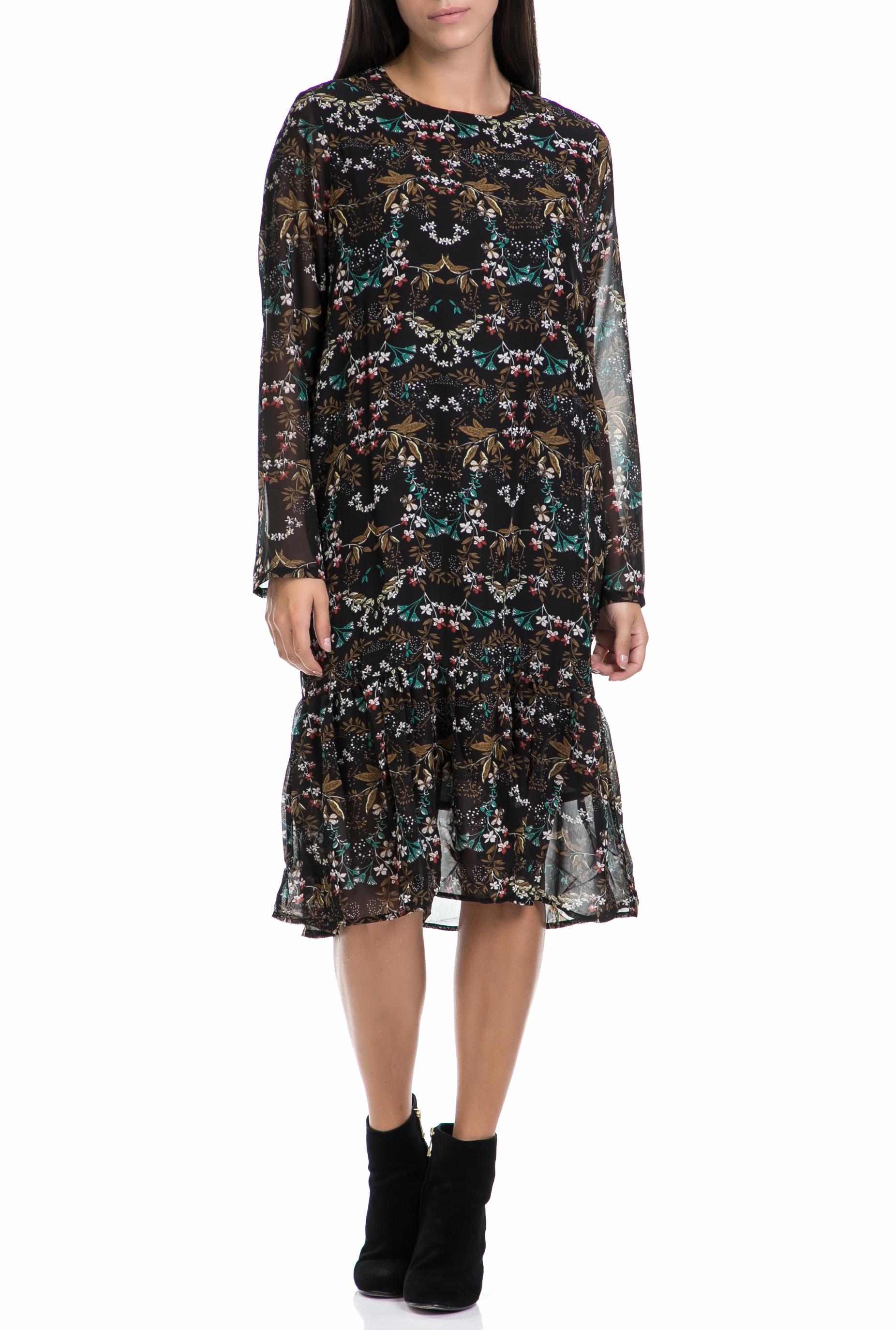 MOLLY BRACKEN - Γυναικείο φόρεμα MOLLY BRACKEN μαύρο-εμπριμέ γυναικεία ρούχα φορέματα μέχρι το γόνατο