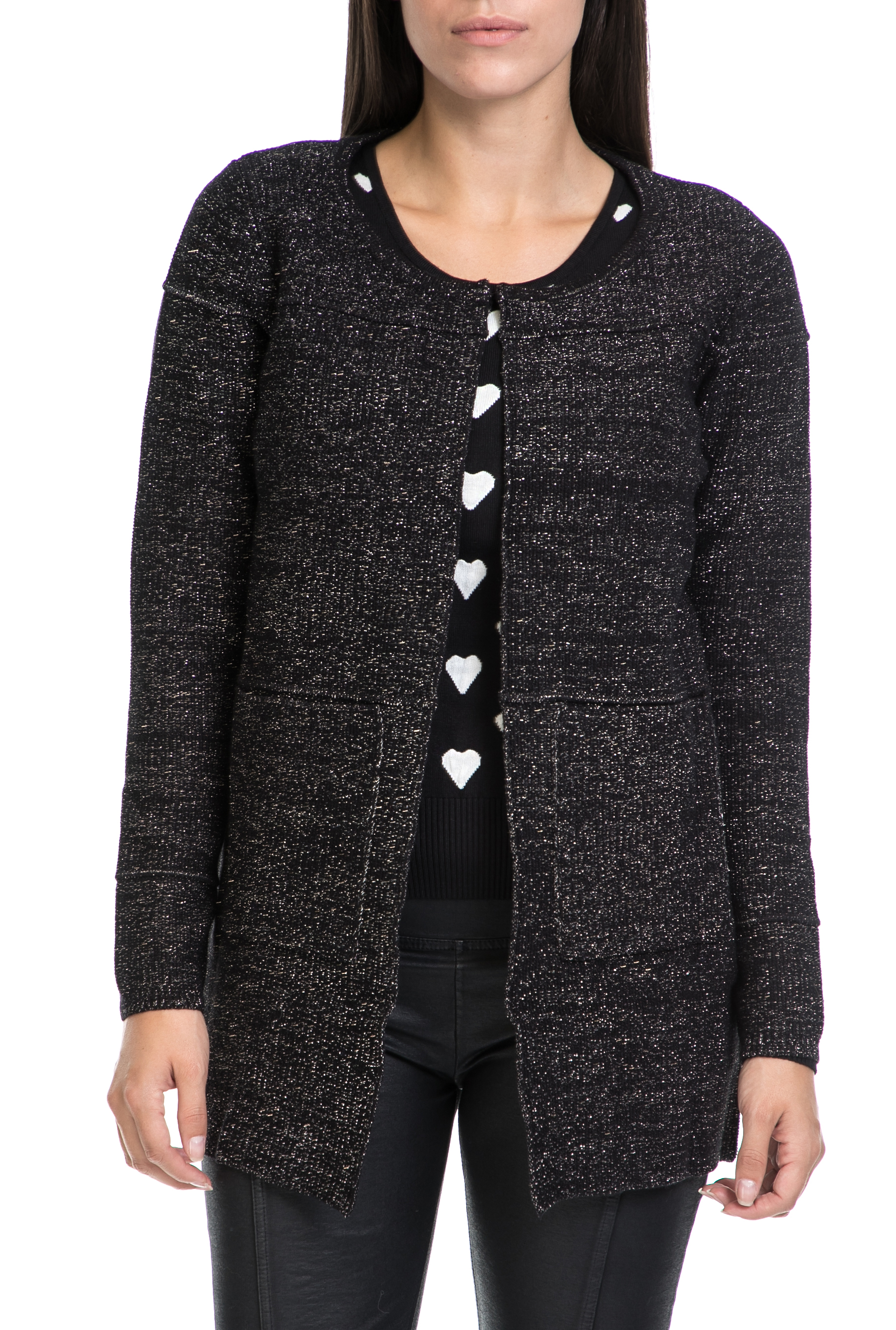 MOLLY BRACKEN - Γυναικεία ζακέτα MOLLY BRACKEN μαύρη-ασημί γυναικεία ρούχα πλεκτά ζακέτες