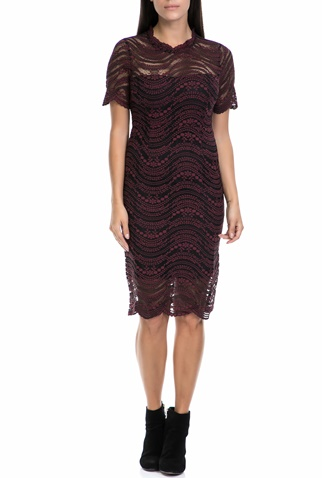 97983782867d Γυναικείο φόρεμα MOLLY BRACKEN μαύρο-μπορντό (1596895.0-4646 ...