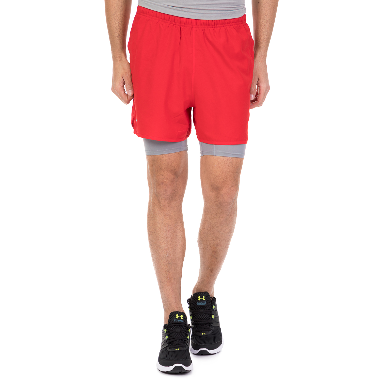 UNDER ARMOUR - Ανδρικό αθλητική βερμούδα με κολάν QUALIFIER 2 IN 1 κόκκινο ανδρικά ρούχα σορτς βερμούδες αθλητικά