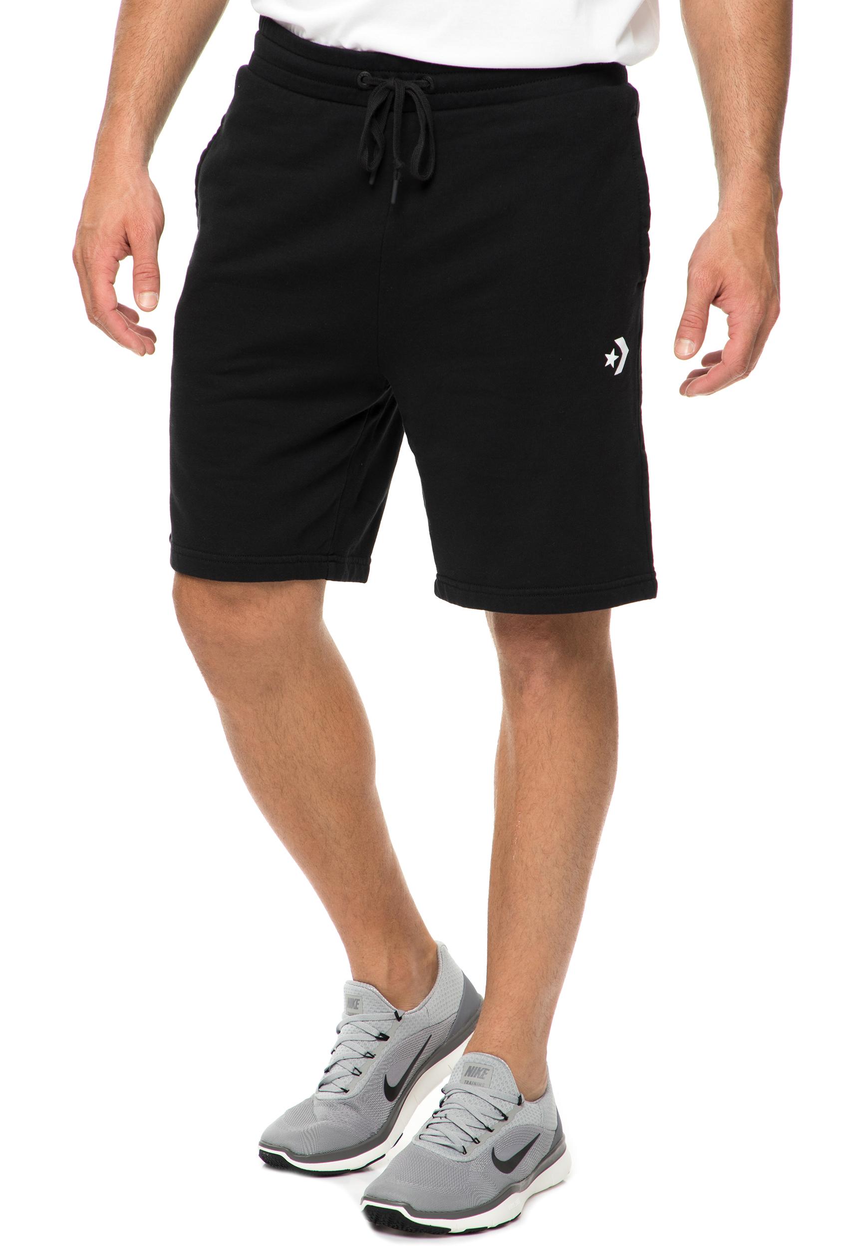CONVERSE - Ανδρική βερμούδα CONVERSE STAR CHEVRON FT μαύρη ανδρικά ρούχα σορτς βερμούδες casual jean