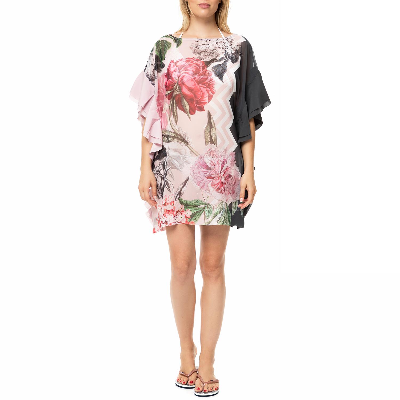 TED BAKER - Γυναικείο μίνι beachwear φόρεμα με βολάν TED BAKER ELESINA φλοράλ γυναικεία ρούχα φορέματα μίνι