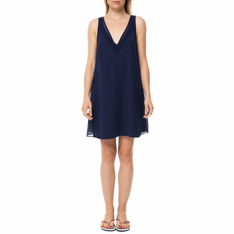 TED BAKER - Γυναικείο μίνι φόρεμα TED BAKER ROSAAY MESH PANELLED μπλε με ημιδιαφ γυναικεία ρούχα φορέματα μίνι