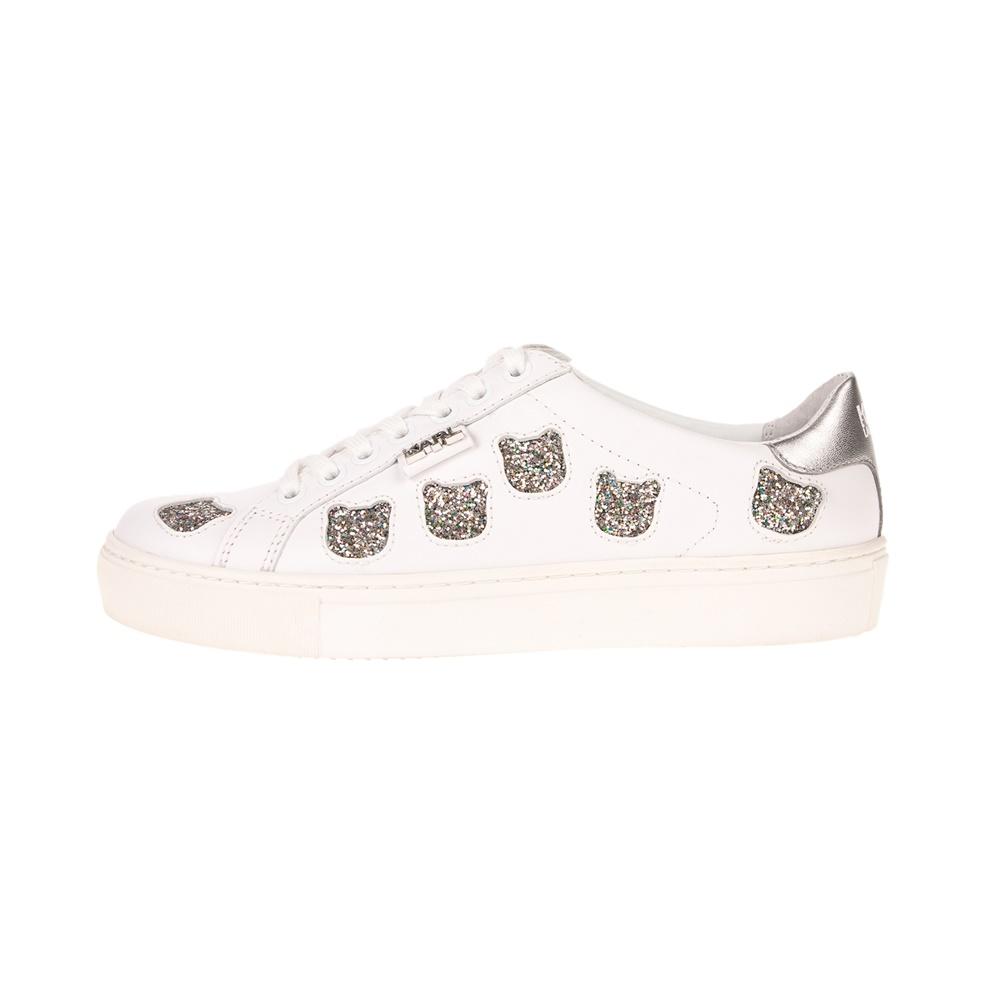 KARL LAGERFELD – Γυναικεία sneakers KARL LAGERFELD KUPSOLE Choupette Inlay Lace λευκά
