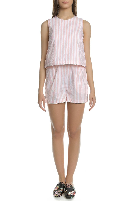 SCOTCH & SODA - Γυναικεία ολόσωμη φόρμα με σορτς SCOTCH & SODA ροζ- λευκή