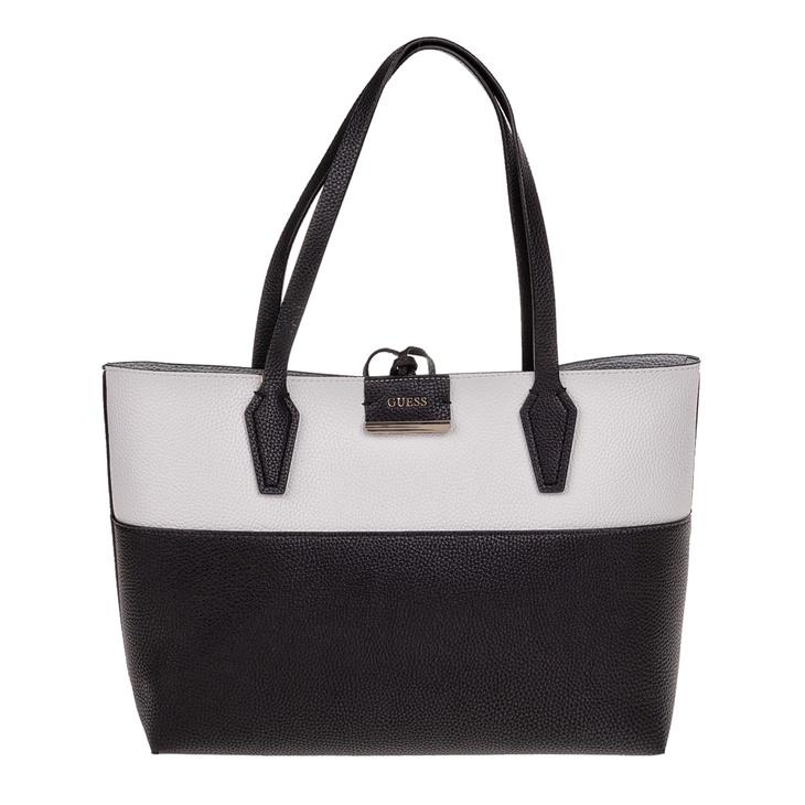 fad41c219330 Γυναικεία τσάντα ώμου διπλής όψεως GUESS BOBBI INSIDE OUT ασπρόμαυρη  (1608723.0-0073)
