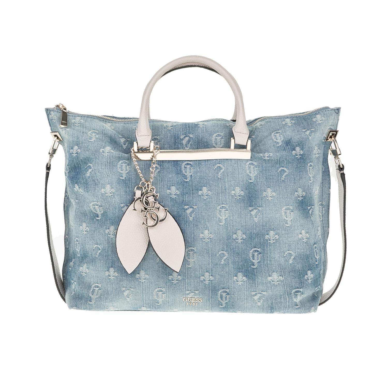 GUESS - Γυναικεία denim τσάντα χειρός GUESS LOU LOU LARGE γαλάζια με print de286c7a4ad
