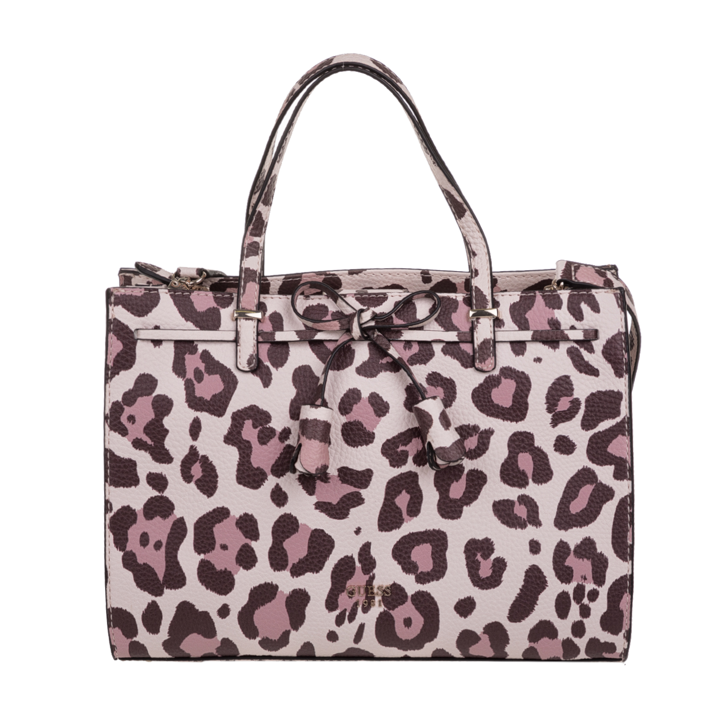 GUESS - Γυναικεία λεοπάρ τσάντα χειρός GUESS LEILA GIRLFRIEND ροζ-καφέ 65ea89a0fae