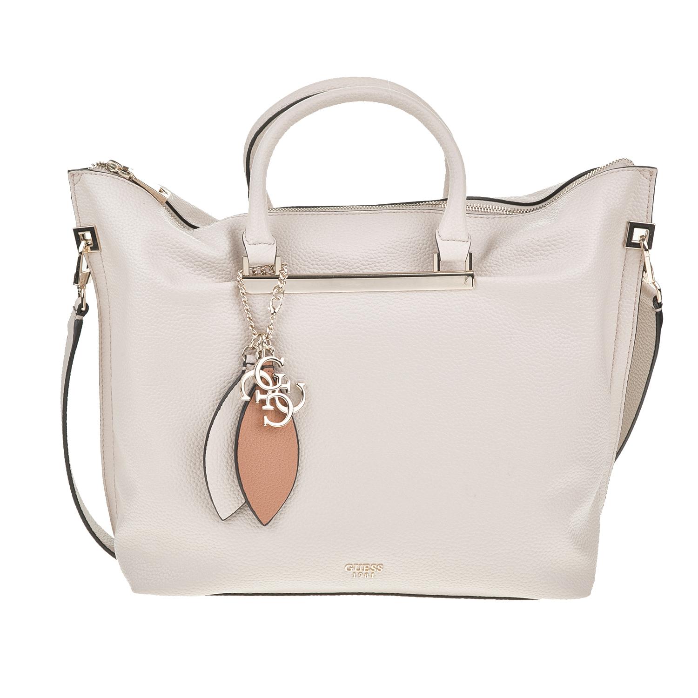 f478eb6363 GUESS - Γυναικεία τσάντα χειρός GUESS LOU LOU LARGE γκρι ανοιχτό