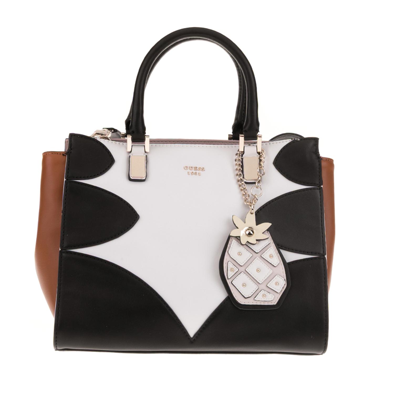 571555edc2 GUESS - Γυναικεία τσάντα χειρός GUESS FRUIT PUNCH SOCIETY SATCHEL λευκή