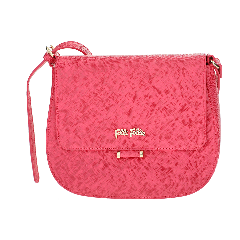 FOLLI FOLLIE - Γυναικεία μικρή τσάντα χιαστί με καπάκι Folli Follie φούξια γυναικεία αξεσουάρ τσάντες σακίδια χιαστή   cross body