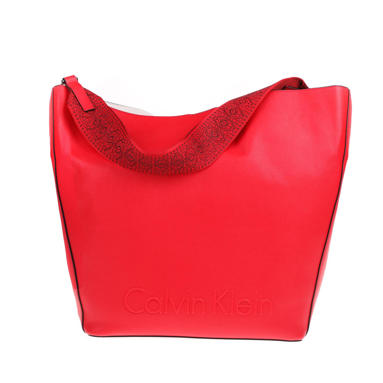 CALVIN KLEIN JEANS - Γυναικεία τσάντα hobo EDGE CALVIN KLEIN JEANS κόκκινη γυναικεία αξεσουάρ τσάντες σακίδια ωμου