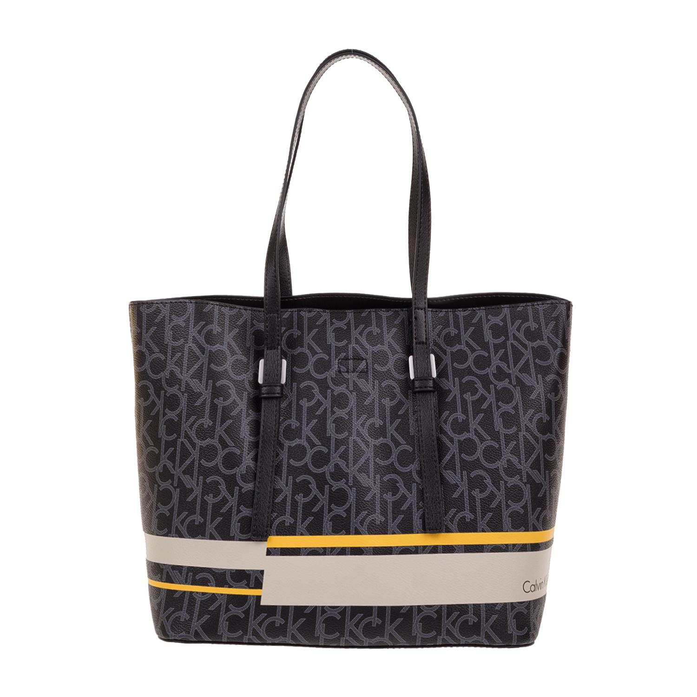 3b148e04c7 CALVIN KLEIN JEANS - Γυναικεία τσάντα ώμου Calvin Klein Jeans ZONE MEDIUM  μαύρη με print