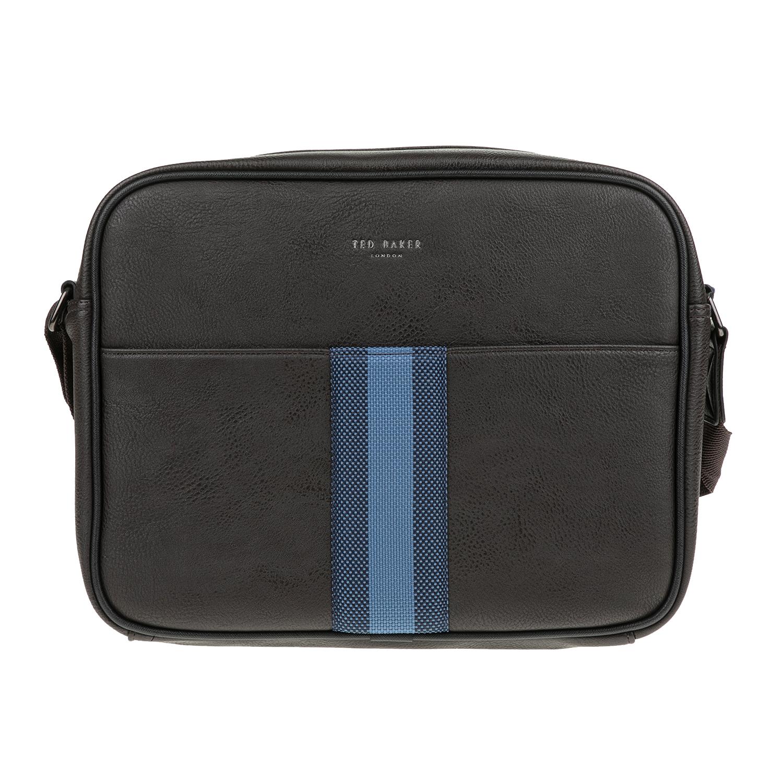 TED BAKER - Ανδρική τσάντα ταχυδρόμου DELANO WEBBING καφέ ανδρικά αξεσουάρ τσάντες σακίδια ταχυδρόμου