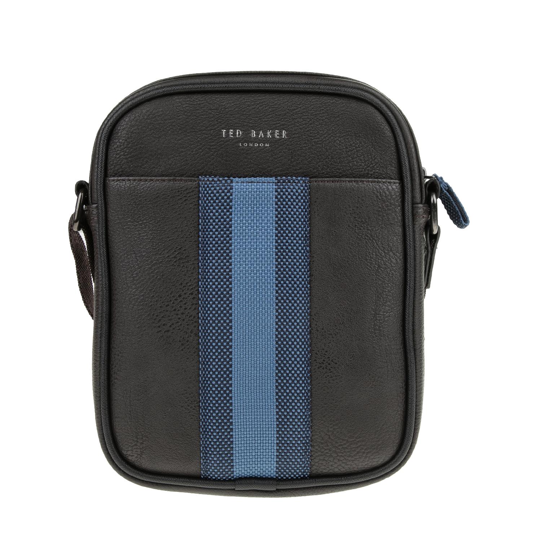 TED BAKER - Ανδρική τσάντα ταχυδρόμου EDWARDS WEBBING MINI FLIGHT καφέ ανδρικά αξεσουάρ τσάντες σακίδια ταχυδρόμου