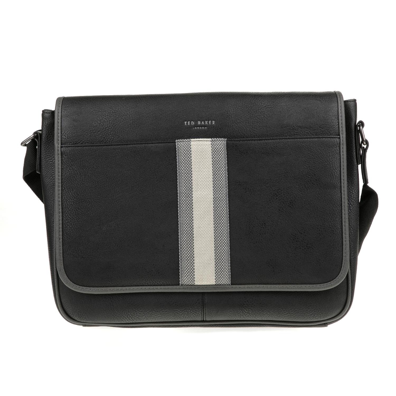 TED BAKER - Ανδρική τσάντα ταχυδρόμου NEEDLES WEBBING DOCUMENT μαύρη ανδρικά αξεσουάρ τσάντες σακίδια ταχυδρόμου