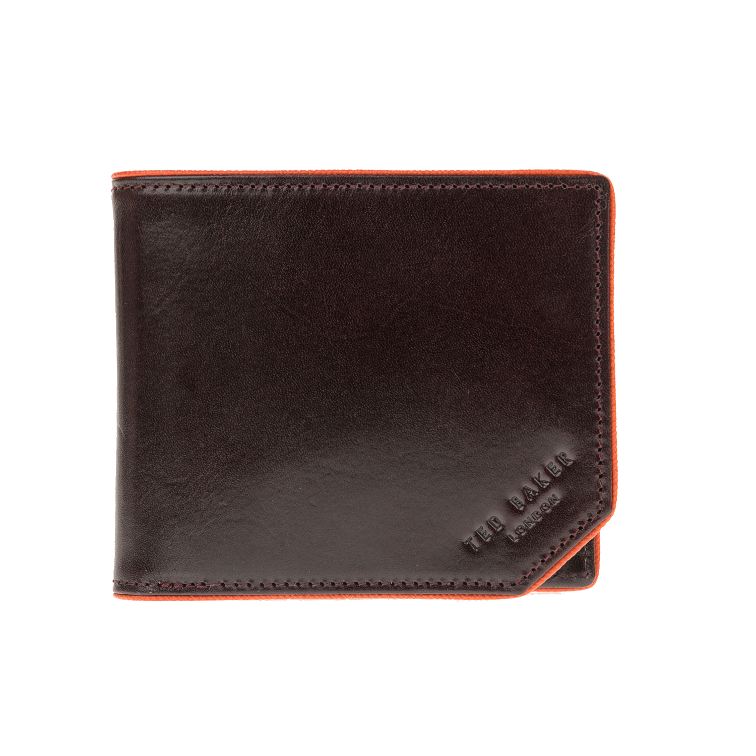 d6b5841218 TED BAKER - Ανδρικό πορτοφόλι HUMM SAFFIANO PIPED EDGE BIFOLD καφέ
