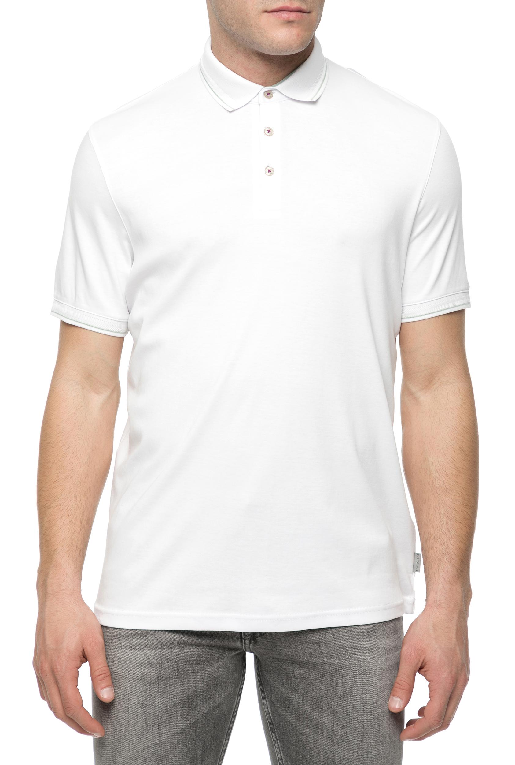 TED BAKER - Ανδρικό κοντομάνικο πόλο μπλουζάκι TED BAKER λευκό