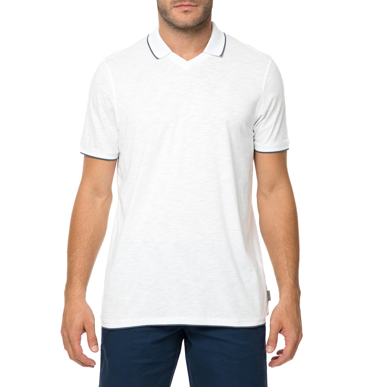 TED BAKER - Ανδρική κοντομάνικη πόλο μπλούζα TED BAKER TROPHY λευκή