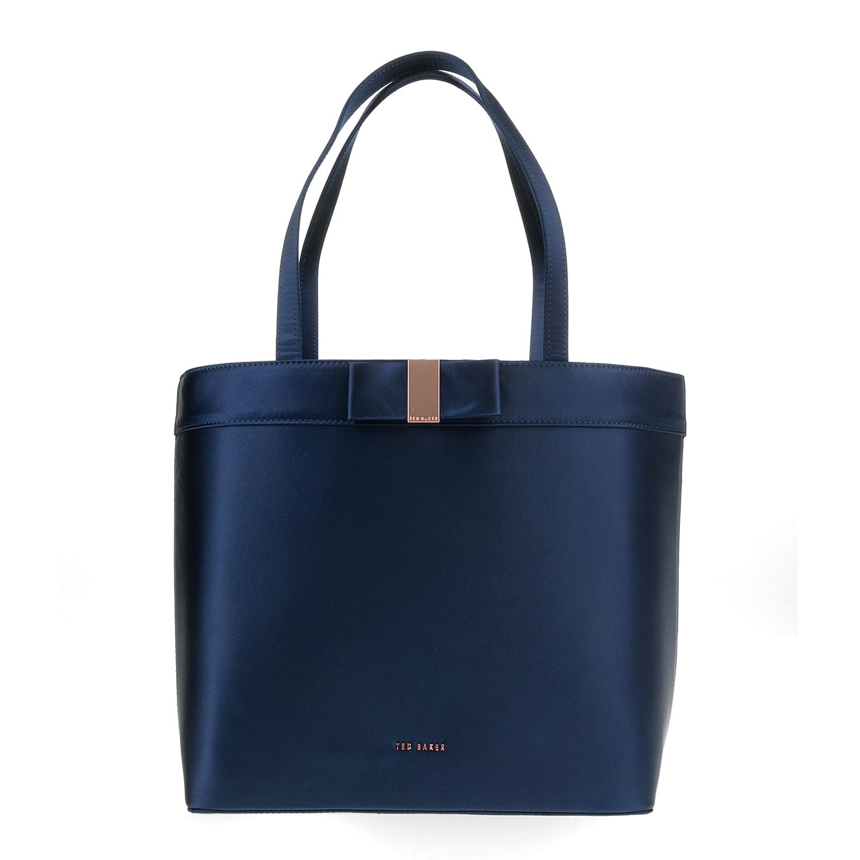 TED BAKER - Γυναικεία τσάντα ώμου ABILA BOW DETAIL SATIN μπλε γυναικεία αξεσουάρ τσάντες σακίδια ωμου