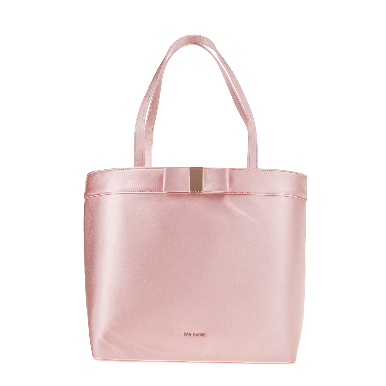 TED BAKER - Γυναικεία τσάντα ώμου ABILA BOW DETAIL SATIN ροζ γυναικεία αξεσουάρ τσάντες σακίδια ωμου