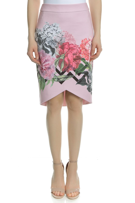 TED BAKER - Γυναικεία midi φούστα TED BAKER SOELLA ροζ φλοράλ γυναικεία ρούχα φούστες μέχρι το γόνατο