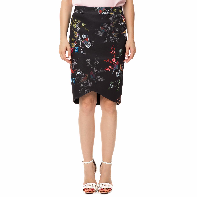 TED BAKER - Γυναικεία pencil φούστα TED BAKER TUELLA OPULENT FAUNA μαύρη με λουλ γυναικεία ρούχα φούστες μέχρι το γόνατο