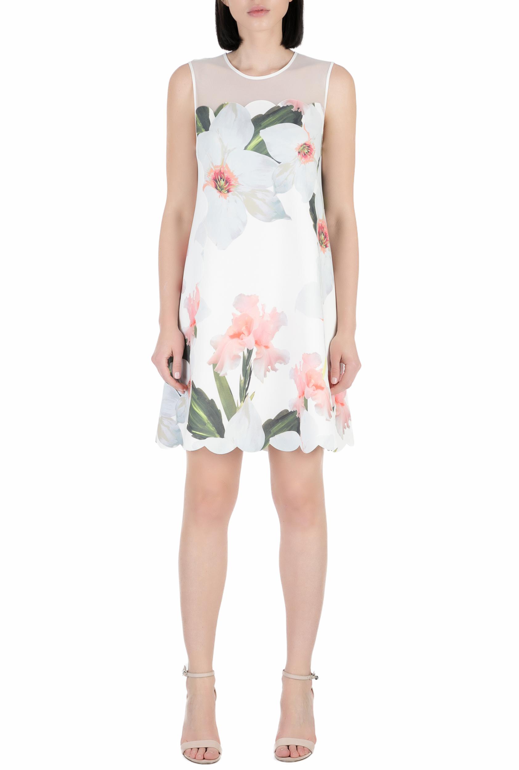 TED BAKER - Γυναικείο μίνι φόρεμα CAPRILA TED BAKER λευκό με φλοράλ γυναικεία ρούχα φορέματα μίνι