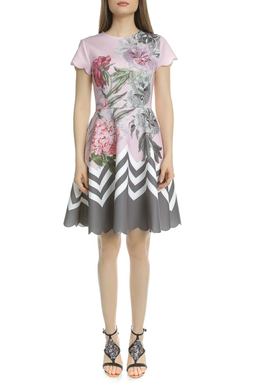 TED BAKER - Γυναικείο μίνι φόρεμα κλος TED BAKER HAIILIE PALACE GARDENS ροζ φλορ γυναικεία ρούχα φορέματα μίνι