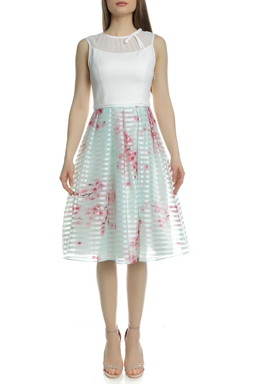 TED BAKER - Γυναικείο φόρεμα TED BAKER IDOLA SOFT BLOSSOM λευκό-πράσινο γυναικεία ρούχα φορέματα μίνι