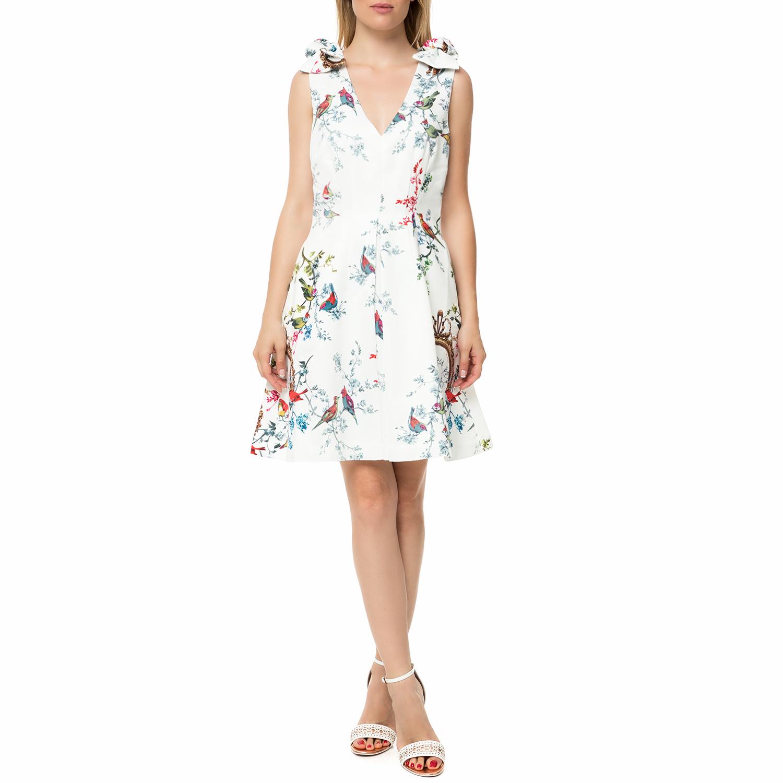 TED BAKER - Γυναικείο αμάνικο μίνι φόρεμα TED BAKER MANUELI λευκό με φλοράλ γυναικεία ρούχα φορέματα μίνι