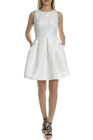 81ca8d9e2f64 Γυναικείο μίνι φόρεμα με πέρλες MILLIEA EMBELLISHED SKATER λευκό ...