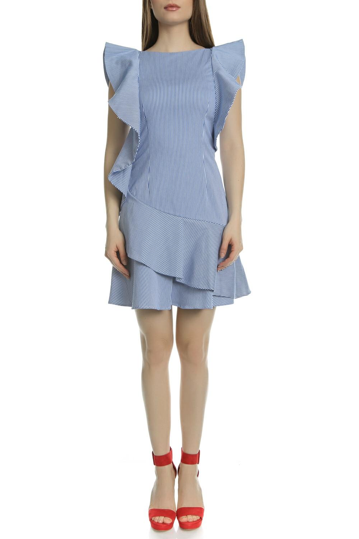 TED BAKER - Γυναικείο μίνι φόρεμα με βολάν NEMERA ASYMETRIC FRILLS μπλε ριγέ γυναικεία ρούχα φορέματα μίνι